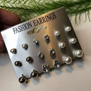 🍭 NWT! 9 set of pearl rhinestone earrings
